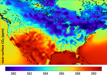 Simulated CO2 distribution over North America for summer 2010